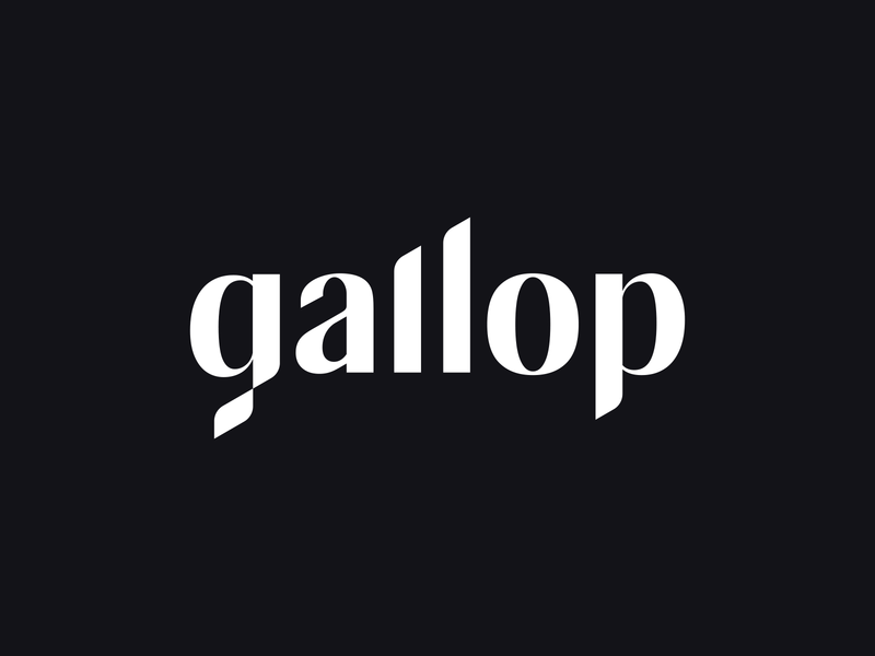 Gallop logo logotype minimalist identity dynamic wordmark type marketing wave glitch racing flag chess diagram barchart agency custom lettering typography logo branding