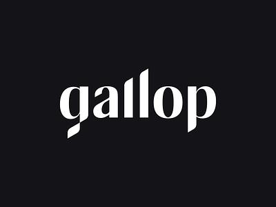 Gallop logo logotype minimalist identity dynamic wordmark type marketing wave glitch racing flag chess diagram barchart agency custom lettering typography logo branding
