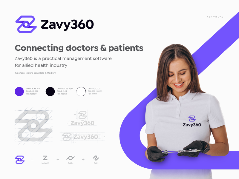 Zavy360 Branding Identity medical whirlpool orbit logo pattern patient brandbook branding identity app doctor care health software custom typography lettering path z 3d grid