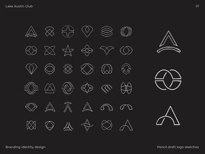 Logo draft sketches for Lake Austin Club