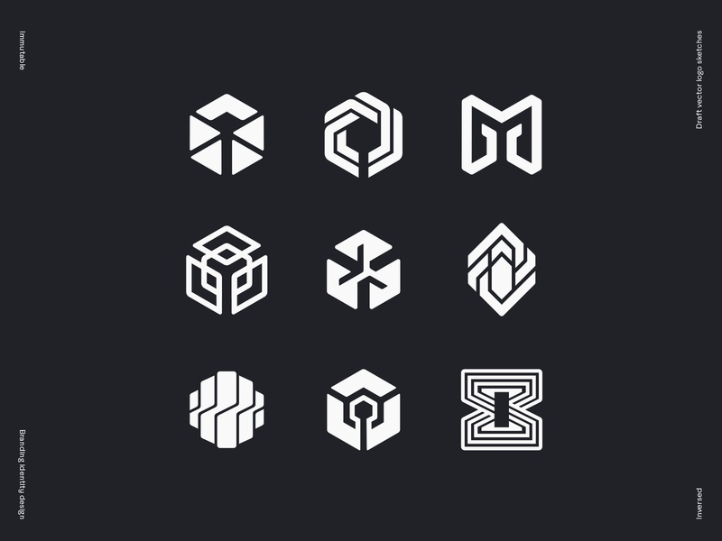 Immutable logo draft vector sketches geometry loop glitch key network molecule chrystal circuit cybersport hexagon crypto stone wire star tech platform gaming blockchain logo branding