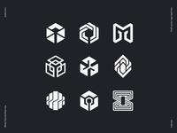 Immutable logo draft vector sketches
