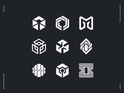 Immutable logo draft vector sketches geometry loop glitch key network molecule chrystal circuit cybersport hexagon crypto stone wire star tech platform gaming blockchain logo branding