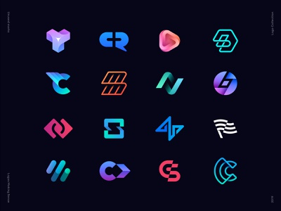 Logos Collection 2019. Unused Marks check mark wifi coin blockchain app mobile toggle code bolt diagram wing play plus chat minimal gradient unused identity branding logo