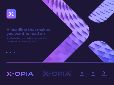 X-Opia Logo and Brand Identity Concept brandbook crossroad app icon galaxy space negative space grid exhibition advertising cross arrow star gradient lettering typography logo icon pattern branding