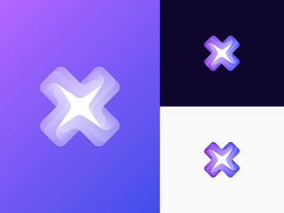 X + Star + Cross Unused Logo Concept flower turbine identity windmill galaxy loop wave logo letter x gradient portal unused for sale exhibition crossroad cross branding star app 3d