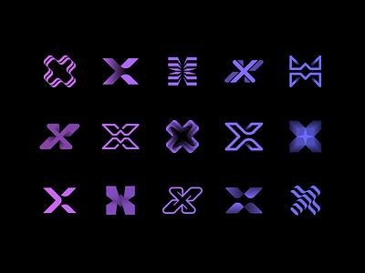 Draft Vector Shapes for X-Opia diagram identity branding sketch logo wire wings waves rays star portal plus stripes loop path gradient cross arrow app 3d