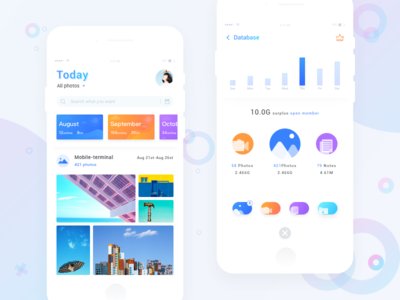 Cloud upload APP interface design download save upload cloud photo administrative colorful