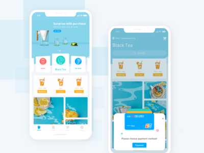 Beverage payment interface ui iphone x ios11 colorful card style blue online banking coffee beverages tea payment interface