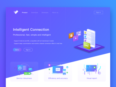 Data push interface developer service platform download page product service ui interface design homepage registration login page 2.5d illustration interface push data