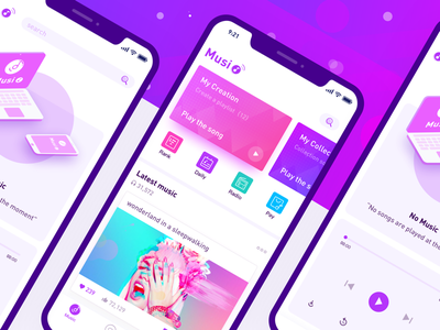 Music Interface player purple color tapered illustration ue interactive iphonex app ui interface music
