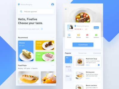 Gourmet interface home kitchen chef personal center iphonex ui interface takeout restaurant food customization food