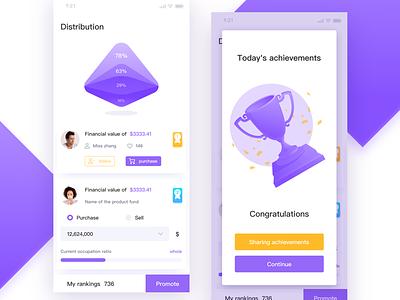 Data financial consumption interface illustrations trophies rankings reward purple app iphonex interface ui consumption finance data