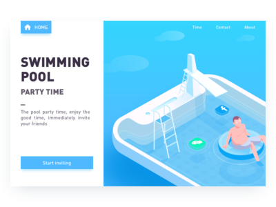 Pool Party web design invitations 2.5d illustrations icon iphonex swimming pool pool party