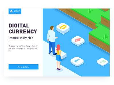 Digital Currency graphic design mobile data wealth river rich bitcoin green illustration digital currency