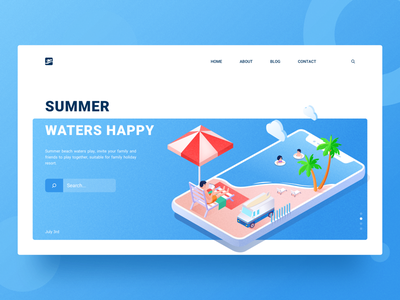 Summer Waters Happy summer 2.5d beach swimming illustration blue blue sky white clouds tourism vacation.