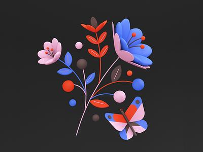 Florals 01 c4d 3d floral butterfly flower pattern colors shapes color illustration