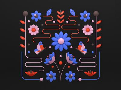 Florals 02 butterfly flowers floral c4d 3d design shapes color illustration