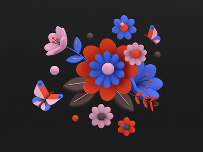 Florals 03 spring butterfly floral flowers c4d 3d shapes color illustration