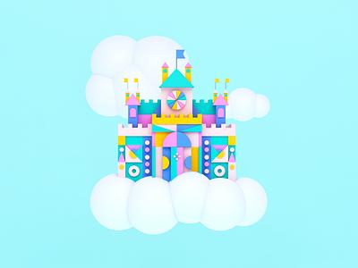 Castle in the Sky sky castle cinema4d c4d 3d shapes color illustration