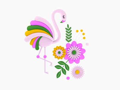 Bird 02 3d cinema4d c4d pink flamingo bird design shapes color illustration