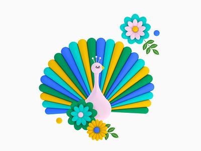 Bird 03 c4d cinema 4d floral flower bird peacock 3d shapes color illustration