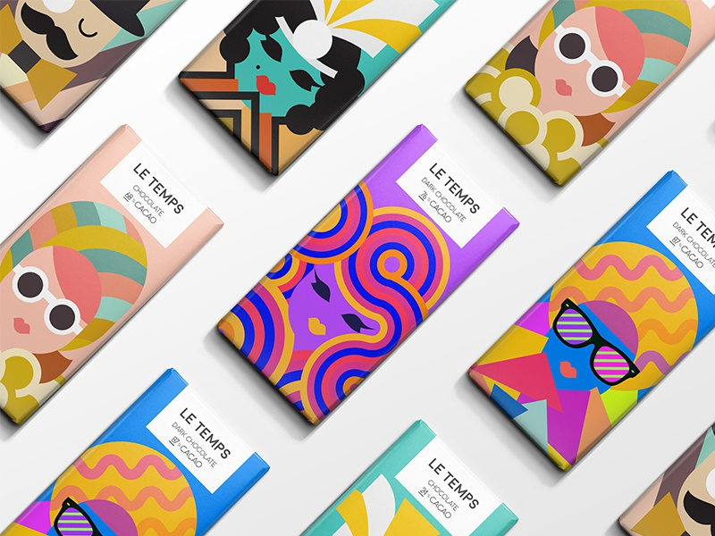 Le Temps Chocolate decades concept color illustration packaging chocolate