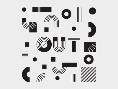 OUT lgbtq compass line black and white pattern illustration