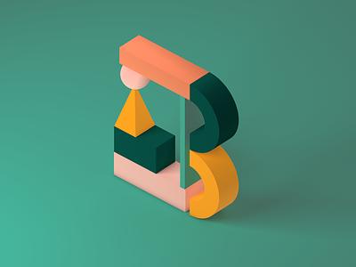 36 Days of Type B 3d cinema4d shapes design 36daysoftype color illustration