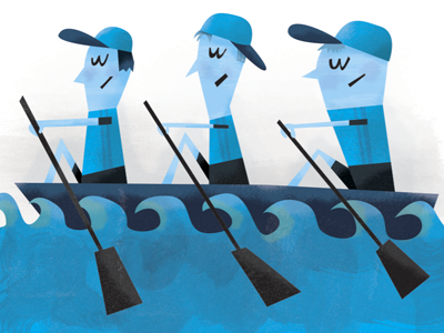 Olympic Rowers blue illustration watercolor texture