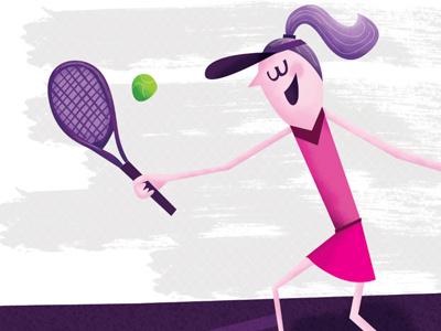 Girl Playing Tennis illustration sports pink purple