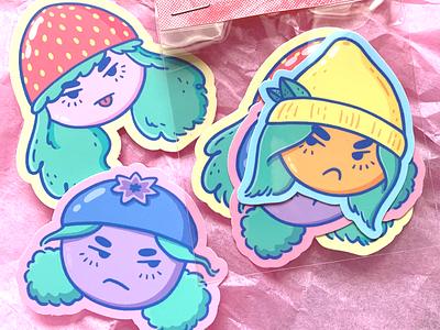 Bad Fruit girls fruity fruit character design cute stickermule characterdesign sticker design sticker illustration design