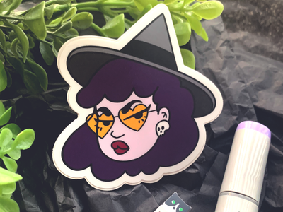 Sass Witch sassy sass witch spooky cute character design sticker design sticker stickermule illustration design