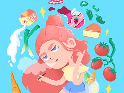 Market Girl fruit veggies food character design illustration illustrator market farmers market