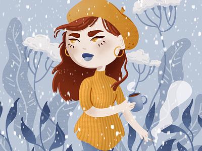 Winter Walk ipadpro ipadart procreate ipad illustrator coffee mustard snow winter character design cute illustration