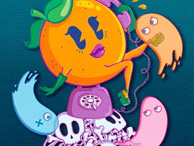 Ms. Orange - Free Play Florida videogames pacman ms pacman ipad fruit feminist ipadpro procreate illustrator design character design cute illustration