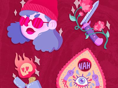 Anti-V-Day ipadpro procreate illustrator funny feminist sticker sticker design stickermule cute design character design illustration