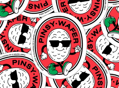PINSY WAFER by ALEO PIZZA POINT branding graphic sticker packaging design character design illustration puppet logo