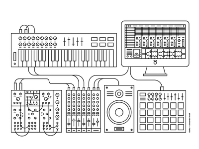 I Suoni Del Futuro mixer synth electronic future music white black monoline design illustration