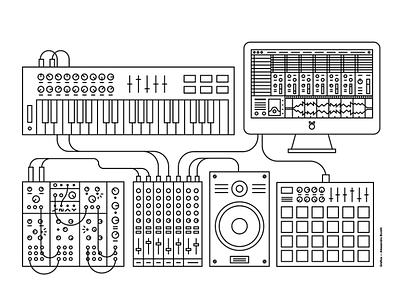 I Suoni Del Futuro mixer synth electronic future music white black monoline design illustration