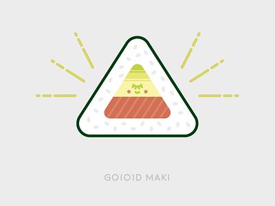 Sunday Illustration #03 - GO(O)D MAKI flat triangle god sushi maki graphic design illustration burelli alessandro 03 sundayillustration