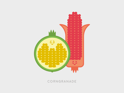Sunday Illustration #05 - Corngranade pomegranade corn illustration