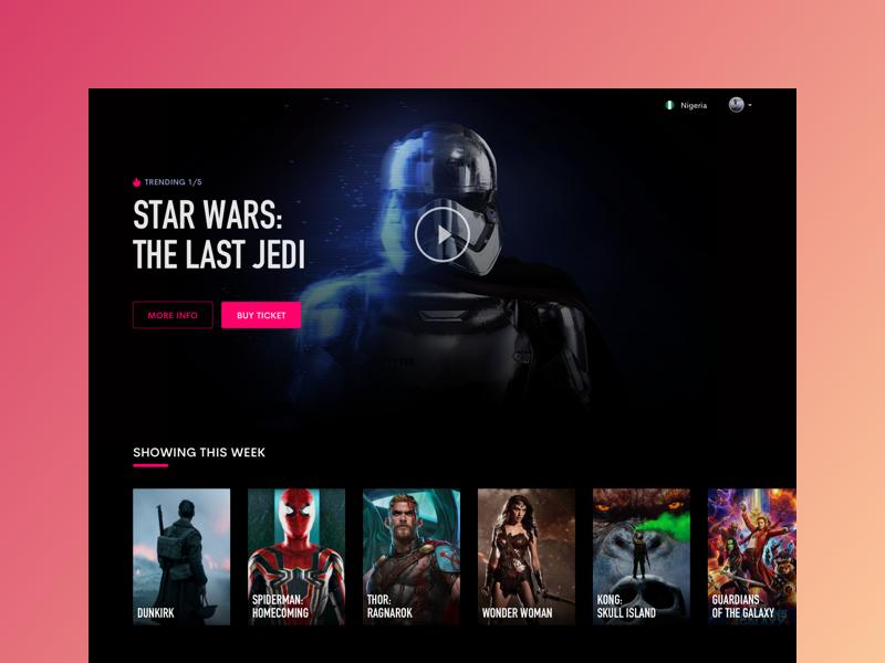 Cinema Website web ui interface desktop design clean entertainment movies cinema