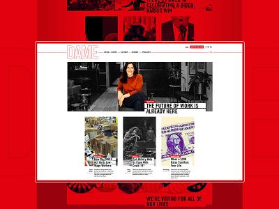 DAME  - Amplifying the Impact of a Digital Magazine icon vector shape web typography rock card music webdesign website journalism branding design illustration magazine color ux ui