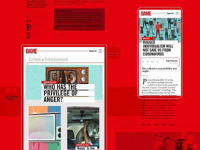 DAME  - Amplifying the Impact of a Digital Magazine shape digital website design webdevelopment uxui ui ux color magazine illustration design branding journalism website webdesign music card rock typogaphy web