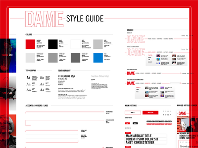 DAME  - Amplifying the Impact of a Digital Magazine webdevelopment red styleguide uxdesign uxui color webdesign journalism website web illustration icon vector logo branding typography rock music ui ux