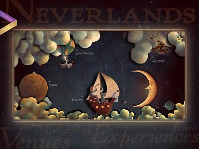 The Neverlands - an immersive experience illustration restaurant food webdevelopment webdesign design website card history color music ui ux