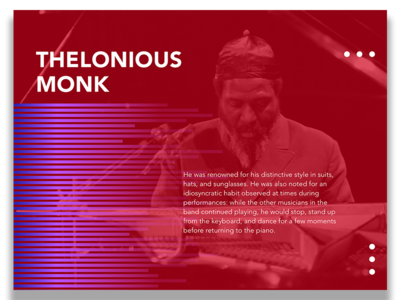 Music History - Thelonious Monk monk card ui ux shape color pink purple jazz history music