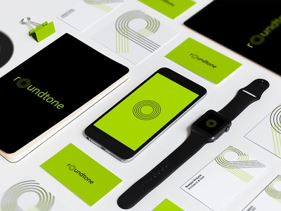 Roundtone Records Visual Identity color records music green visualidentity branding logo