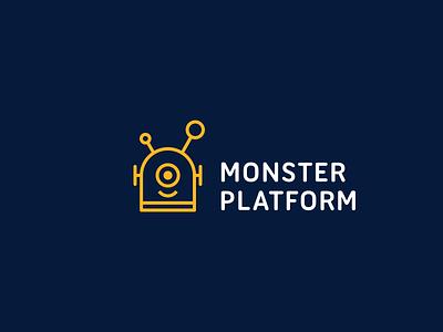 Monster Platform monster robot line-art geometric simple clever logo minimal